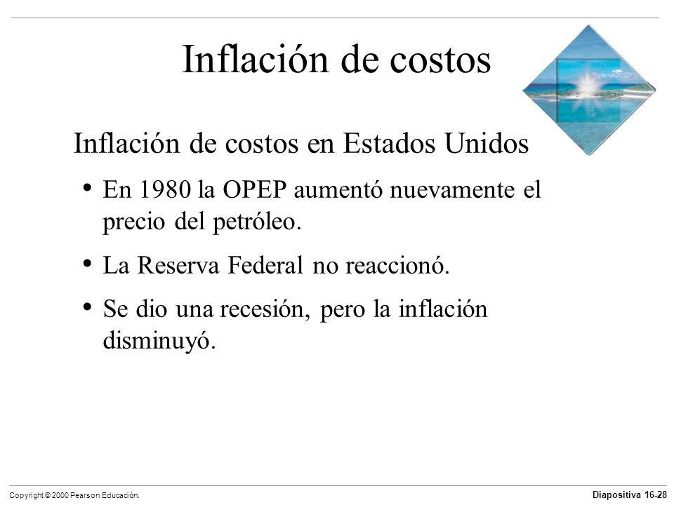Diapositiva 16-28 Copyright © 2000 Pearson Educación. Inflación de costos Inflación de costos en Estados Unidos En 1980 la OPEP aumentó nuevamente el