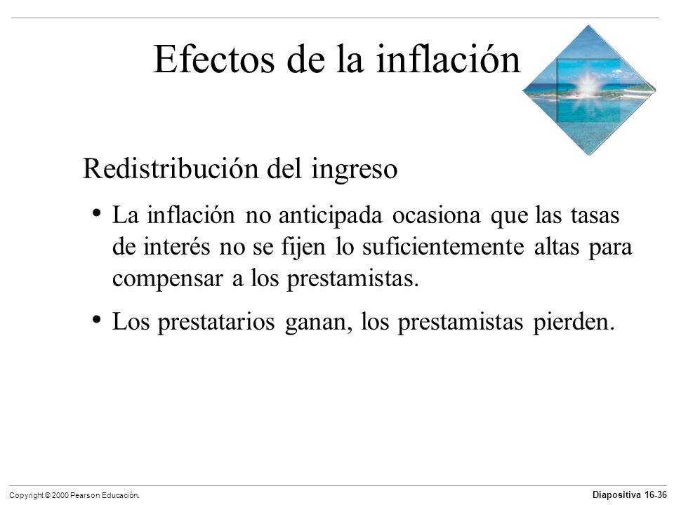 Diapositiva 16-36 Copyright © 2000 Pearson Educación. Efectos de la inflación Redistribución del ingreso La inflación no anticipada ocasiona que las t
