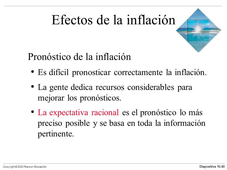 Diapositiva 16-40 Copyright © 2000 Pearson Educación. Efectos de la inflación Pronóstico de la inflación Es difícil pronosticar correctamente la infla