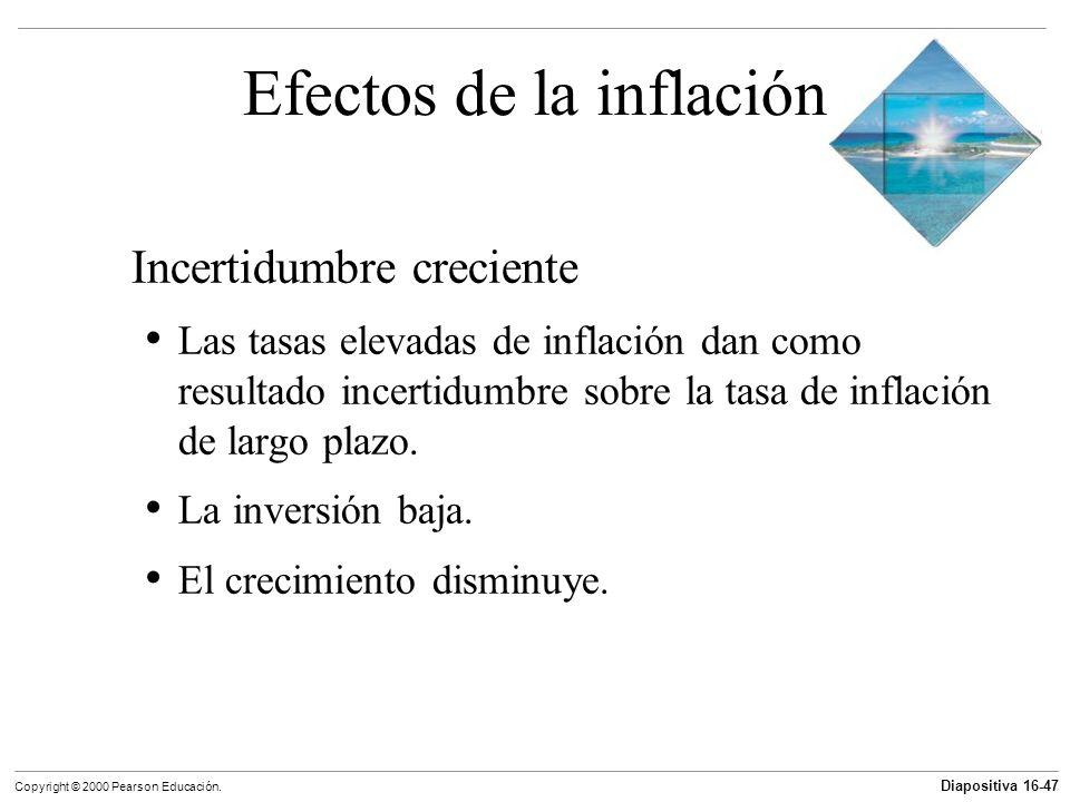 Diapositiva 16-47 Copyright © 2000 Pearson Educación. Efectos de la inflación Incertidumbre creciente Las tasas elevadas de inflación dan como resulta