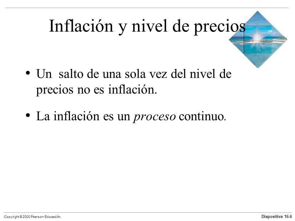 Diapositiva 16-6 Copyright © 2000 Pearson Educación. Inflación y nivel de precios Un salto de una sola vez del nivel de precios no es inflación. La in