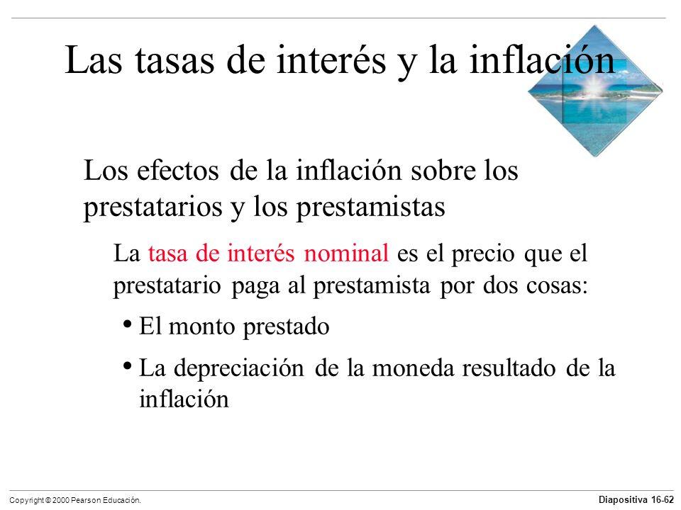 Diapositiva 16-62 Copyright © 2000 Pearson Educación. Las tasas de interés y la inflación Los efectos de la inflación sobre los prestatarios y los pre