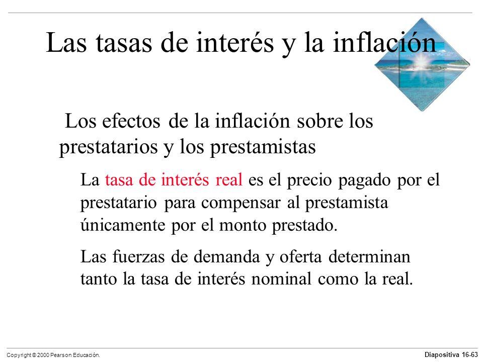 Diapositiva 16-63 Copyright © 2000 Pearson Educación. Las tasas de interés y la inflación Los efectos de la inflación sobre los prestatarios y los pre