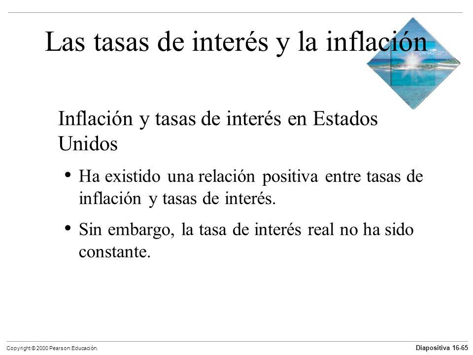 Diapositiva 16-65 Copyright © 2000 Pearson Educación. Las tasas de interés y la inflación Inflación y tasas de interés en Estados Unidos Ha existido u