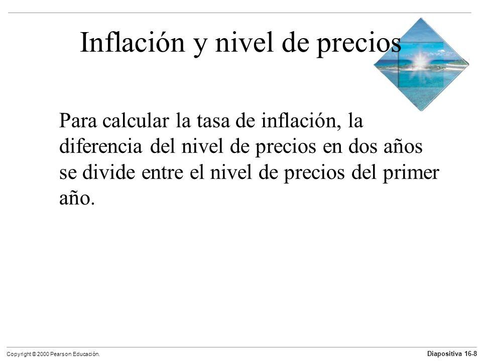 Diapositiva 16-8 Copyright © 2000 Pearson Educación. Inflación y nivel de precios Para calcular la tasa de inflación, la diferencia del nivel de preci