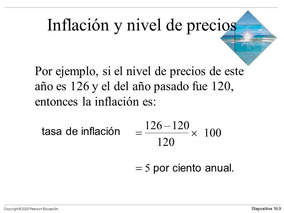 Diapositiva 16-9 Copyright © 2000 Pearson Educación. Inflación y nivel de precios Por ejemplo, si el nivel de precios de este año es 126 y el del año