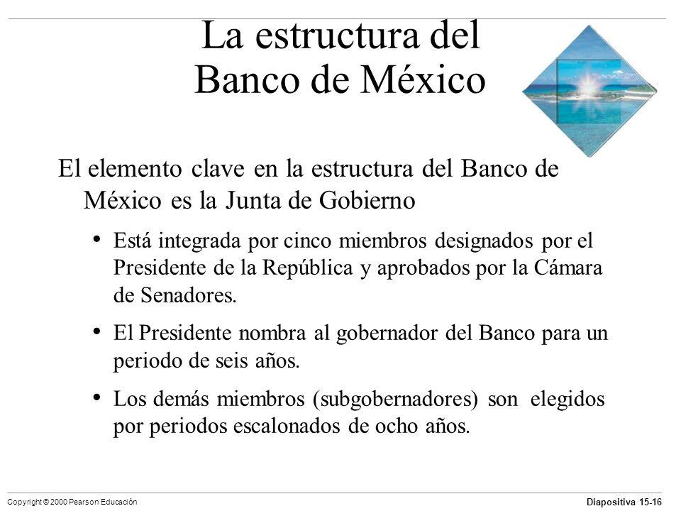Diapositiva 15-16 Copyright © 2000 Pearson Educación La estructura del Banco de México El elemento clave en la estructura del Banco de México es la Ju
