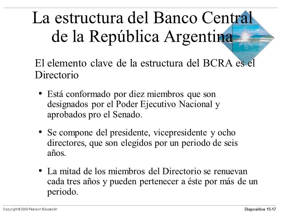 Diapositiva 15-17 Copyright © 2000 Pearson Educación La estructura del Banco Central de la República Argentina El elemento clave de la estructura del