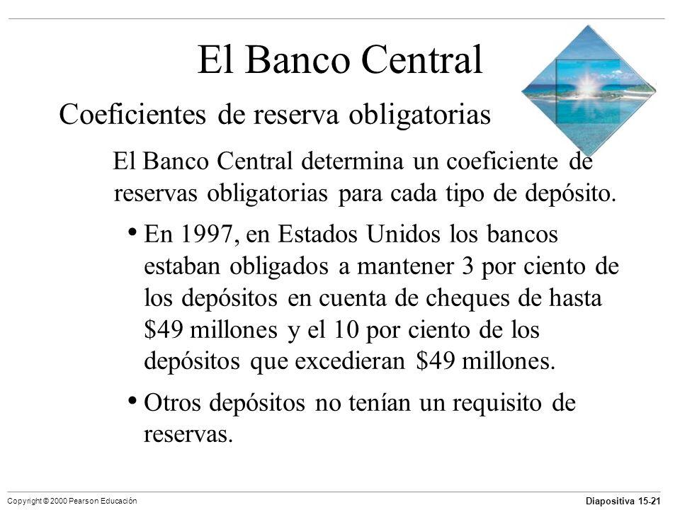 Diapositiva 15-21 Copyright © 2000 Pearson Educación El Banco Central Coeficientes de reserva obligatorias El Banco Central determina un coeficiente d