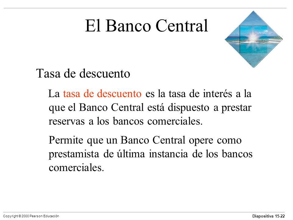 Diapositiva 15-22 Copyright © 2000 Pearson Educación El Banco Central Tasa de descuento La tasa de descuento es la tasa de interés a la que el Banco C