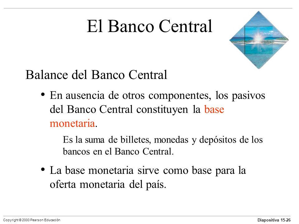 Diapositiva 15-26 Copyright © 2000 Pearson Educación El Banco Central Balance del Banco Central En ausencia de otros componentes, los pasivos del Banc