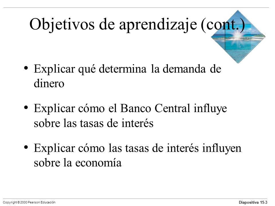 Diapositiva 15-3 Copyright © 2000 Pearson Educación Objetivos de aprendizaje (cont.) Explicar qué determina la demanda de dinero Explicar cómo el Banc