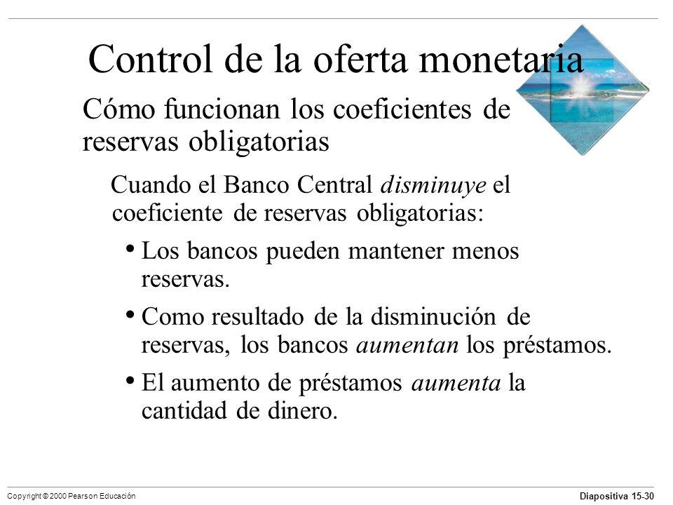 Diapositiva 15-30 Copyright © 2000 Pearson Educación Control de la oferta monetaria Cómo funcionan los coeficientes de reservas obligatorias Cuando el