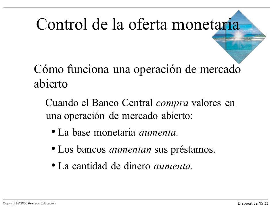 Diapositiva 15-33 Copyright © 2000 Pearson Educación Control de la oferta monetaria Cómo funciona una operación de mercado abierto Cuando el Banco Cen
