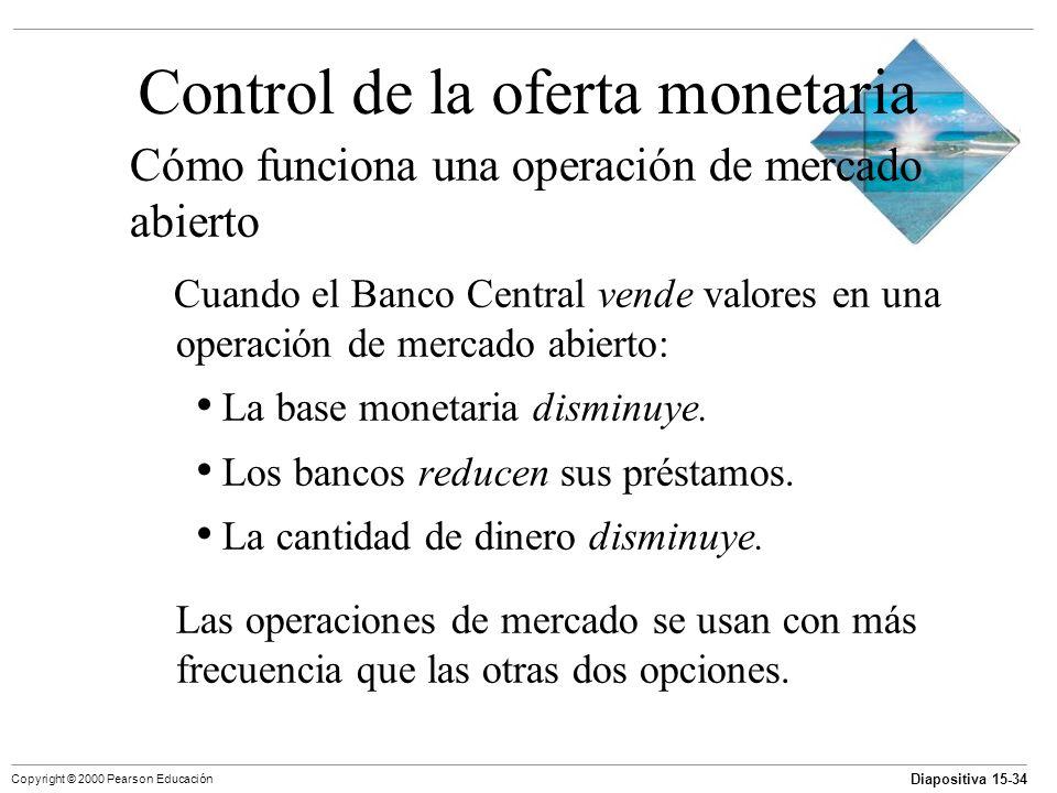 Diapositiva 15-34 Copyright © 2000 Pearson Educación Control de la oferta monetaria Cómo funciona una operación de mercado abierto Cuando el Banco Cen