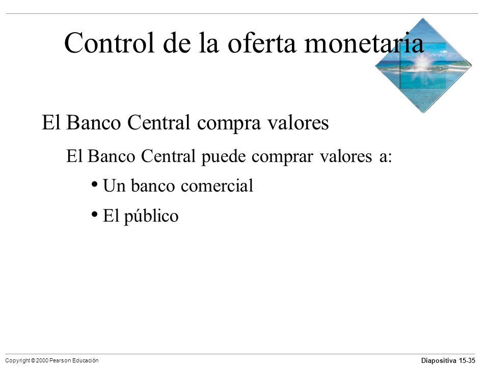 Diapositiva 15-35 Copyright © 2000 Pearson Educación Control de la oferta monetaria El Banco Central compra valores El Banco Central puede comprar val