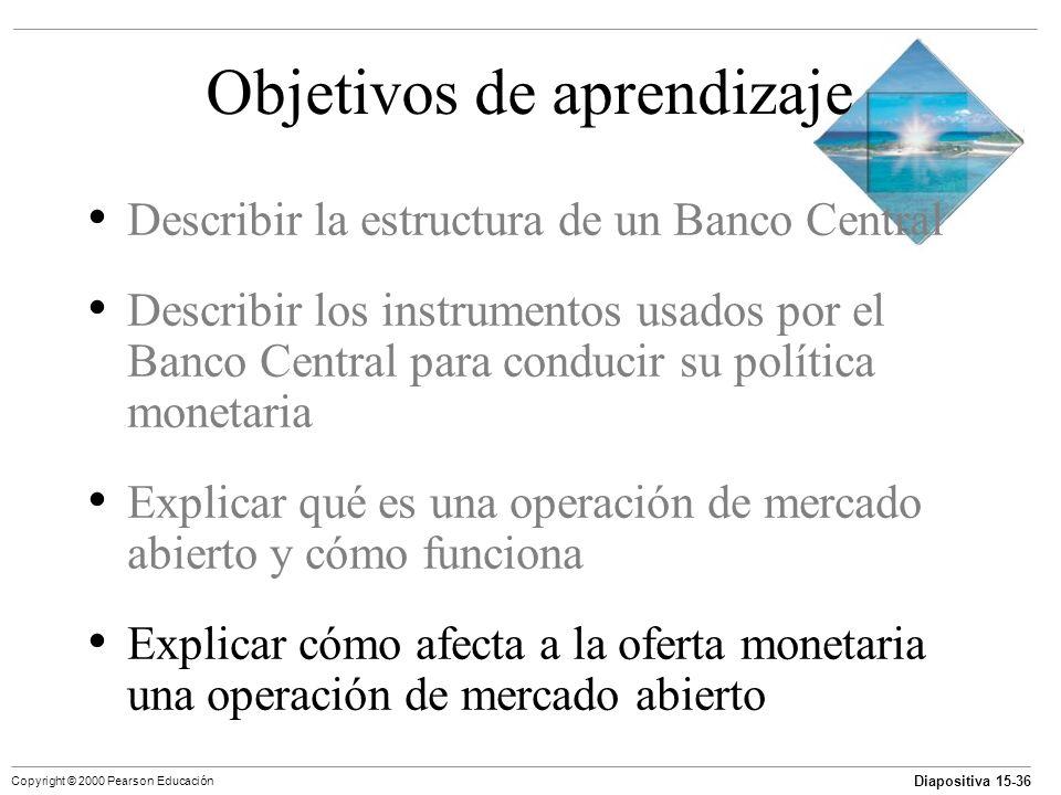 Diapositiva 15-36 Copyright © 2000 Pearson Educación Objetivos de aprendizaje Describir la estructura de un Banco Central Describir los instrumentos u