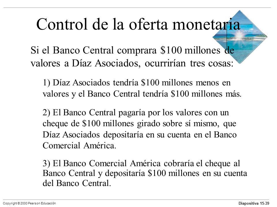 Diapositiva 15-39 Copyright © 2000 Pearson Educación Control de la oferta monetaria Si el Banco Central comprara $100 millones de valores a Díaz Asoci