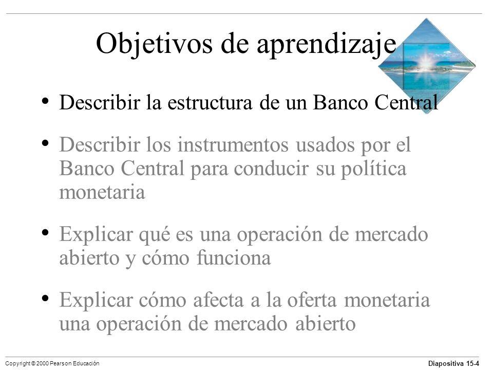 Diapositiva 15-4 Copyright © 2000 Pearson Educación Objetivos de aprendizaje Describir la estructura de un Banco Central Describir los instrumentos us