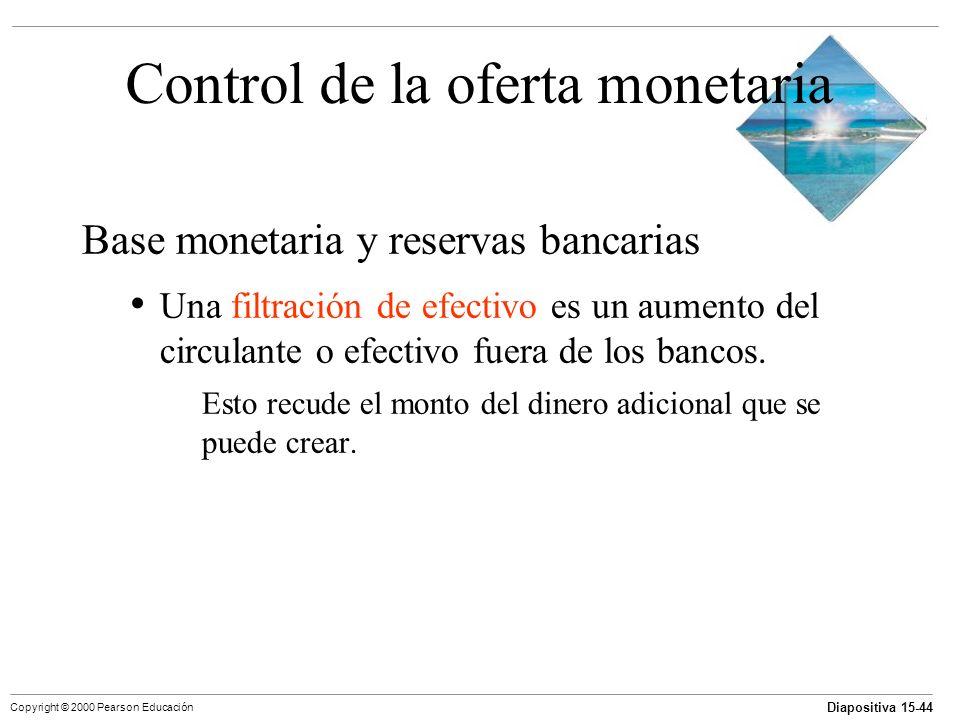 Diapositiva 15-44 Copyright © 2000 Pearson Educación Control de la oferta monetaria Base monetaria y reservas bancarias Una filtración de efectivo es