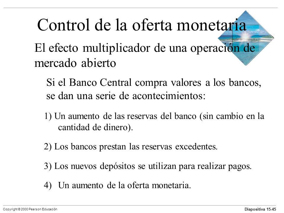 Diapositiva 15-45 Copyright © 2000 Pearson Educación Control de la oferta monetaria El efecto multiplicador de una operación de mercado abierto Si el