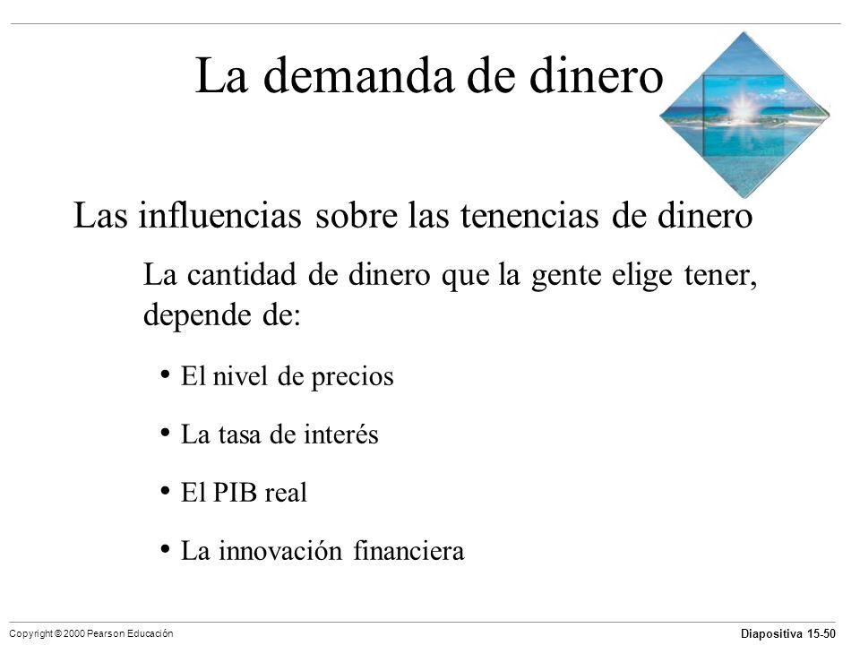 Diapositiva 15-50 Copyright © 2000 Pearson Educación La demanda de dinero Las influencias sobre las tenencias de dinero La cantidad de dinero que la g