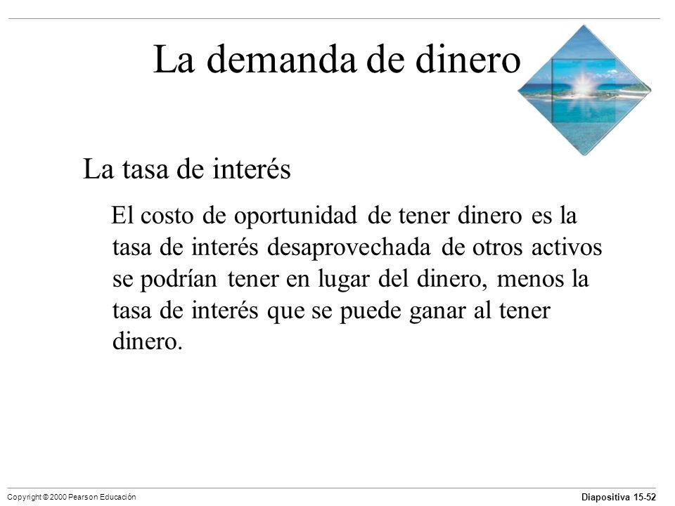 Diapositiva 15-52 Copyright © 2000 Pearson Educación La demanda de dinero La tasa de interés El costo de oportunidad de tener dinero es la tasa de int