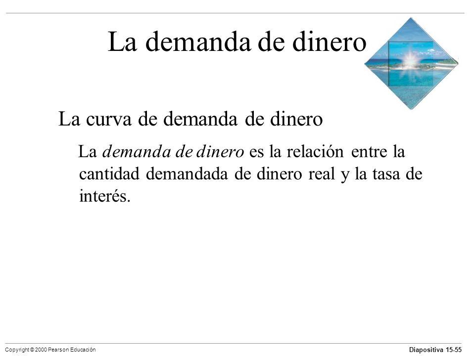 Diapositiva 15-55 Copyright © 2000 Pearson Educación La demanda de dinero La curva de demanda de dinero La demanda de dinero es la relación entre la c