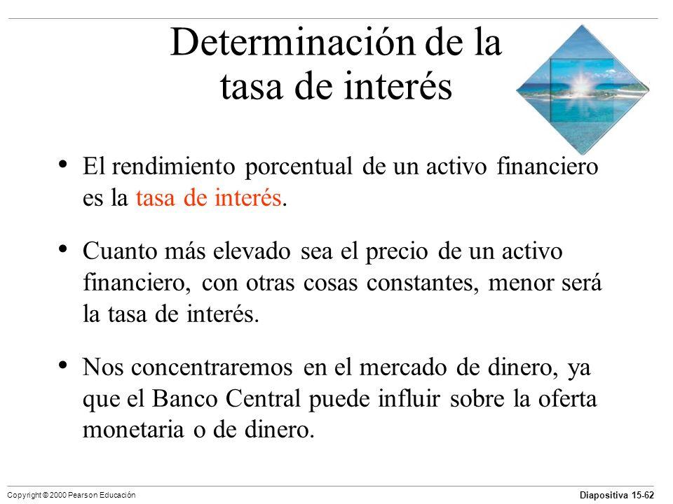 Diapositiva 15-62 Copyright © 2000 Pearson Educación El rendimiento porcentual de un activo financiero es la tasa de interés. Cuanto más elevado sea e