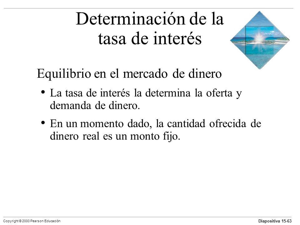Diapositiva 15-63 Copyright © 2000 Pearson Educación Equilibrio en el mercado de dinero La tasa de interés la determina la oferta y demanda de dinero.
