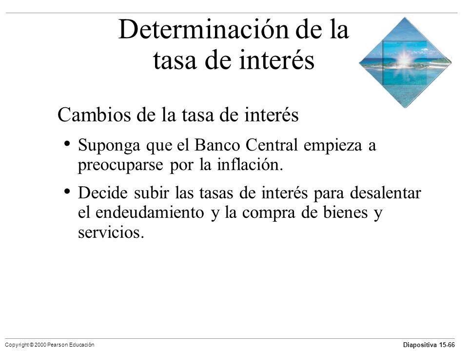 Diapositiva 15-66 Copyright © 2000 Pearson Educación Cambios de la tasa de interés Suponga que el Banco Central empieza a preocuparse por la inflación