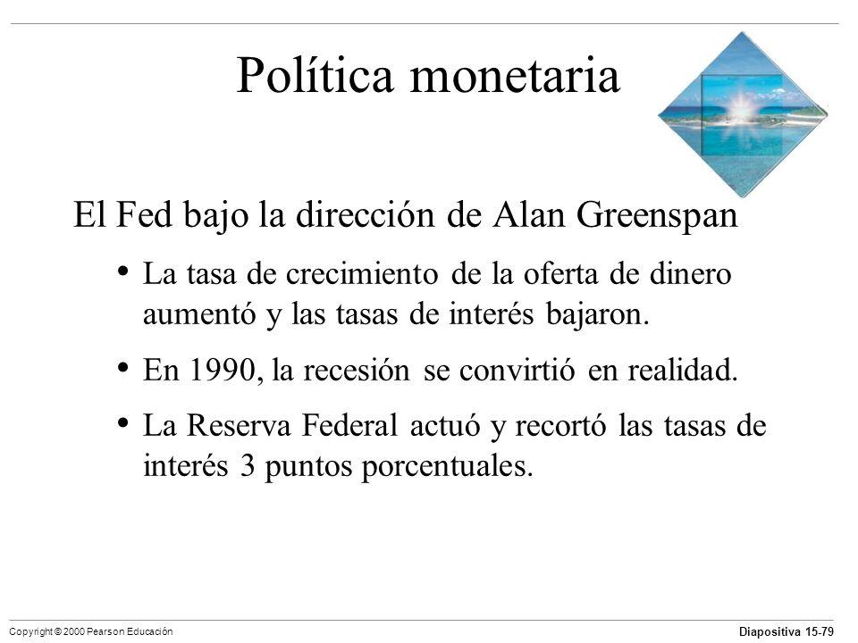 Diapositiva 15-79 Copyright © 2000 Pearson Educación Política monetaria El Fed bajo la dirección de Alan Greenspan La tasa de crecimiento de la oferta