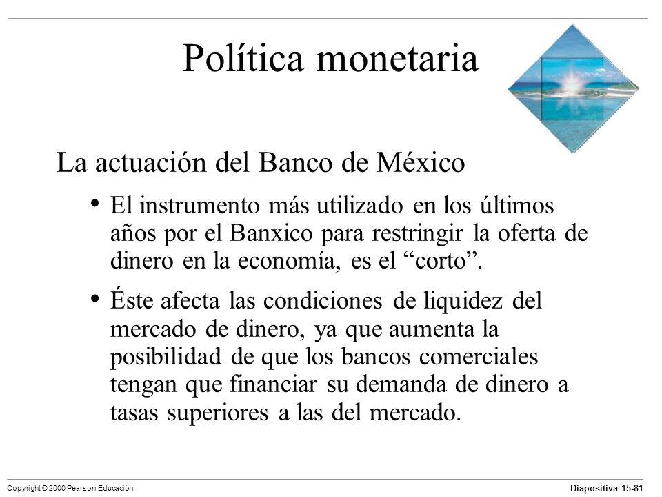 Diapositiva 15-81 Copyright © 2000 Pearson Educación Política monetaria La actuación del Banco de México El instrumento más utilizado en los últimos a