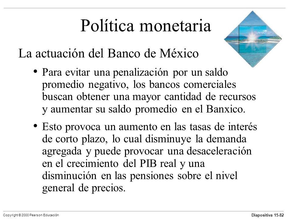Diapositiva 15-82 Copyright © 2000 Pearson Educación Política monetaria La actuación del Banco de México Para evitar una penalización por un saldo pro