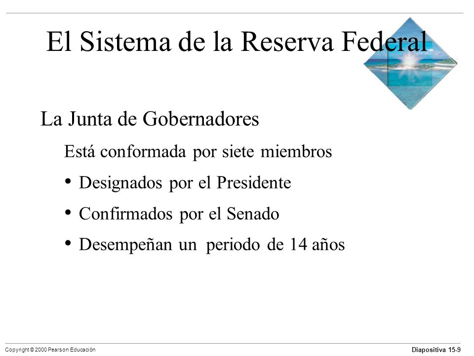 Diapositiva 15-9 Copyright © 2000 Pearson Educación El Sistema de la Reserva Federal La Junta de Gobernadores Está conformada por siete miembros Desig