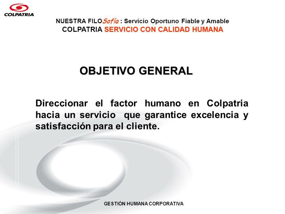 GESTIÓN HUMANA CORPORATIVA OBJETIVO GENERAL Direccionar el factor humano en Colpatria hacia un servicio que garantice excelencia y satisfacción para e