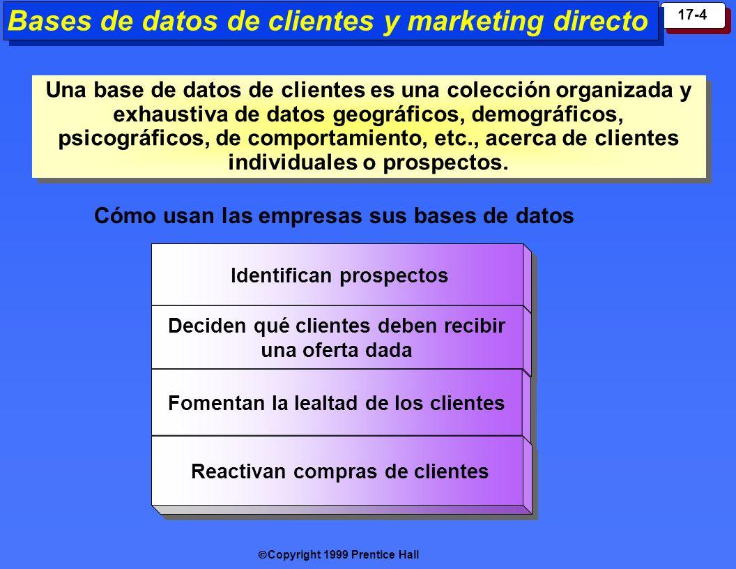 Copyright 1999 Prentice Hall 17-4 Identif ican prospectos Decid en qué clientes deben recibir una oferta dada Decid en qué clientes deben recibir una