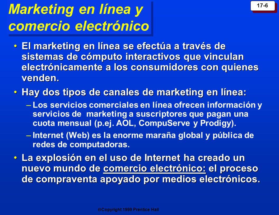 Copyright 1999 Prentice Hall 17-6 Marketing en línea y comercio electrónico El marketing en línea se efectúa a través de sistemas de cómputo interacti