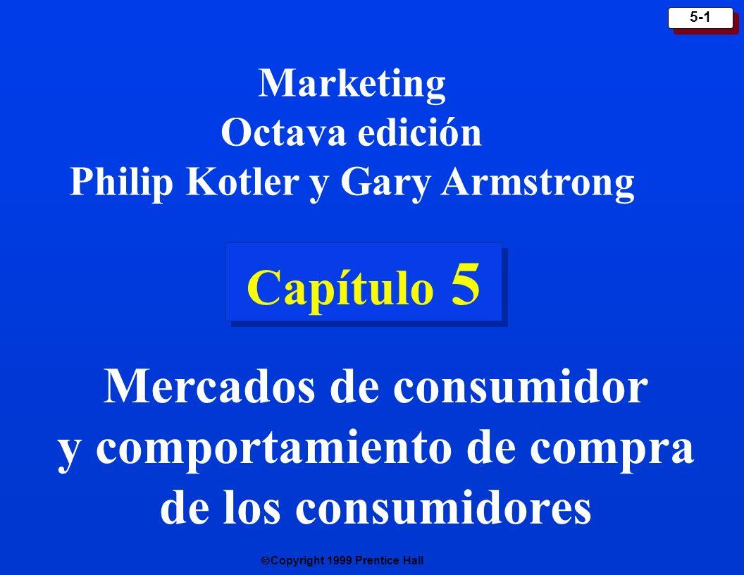 Copyright 1999 Prentice Hall 5-1 Capítulo 5 Marketing Octava edición Philip Kotler y Gary Armstrong Mercados de consumidor y comportamiento de compra de los consumidores