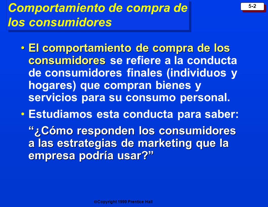 Copyright 1999 Prentice Hall 5-2 Comportamiento de compra de los consumidores El comportamiento de compra de los consumidoresEl comportamiento de compra de los consumidores se refiere a la conducta de consumidores finales (individuos y hogares) que compran bienes y servicios para su consumo personal.