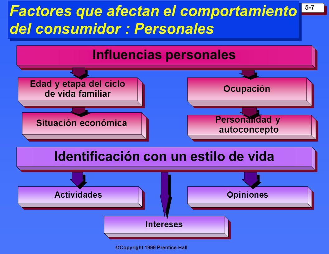 Copyright 1999 Prentice Hall 5-7 Factores que afectan el comportamiento del consumidor : Personales Influenc ias personales Edad y etapa del ciclo de