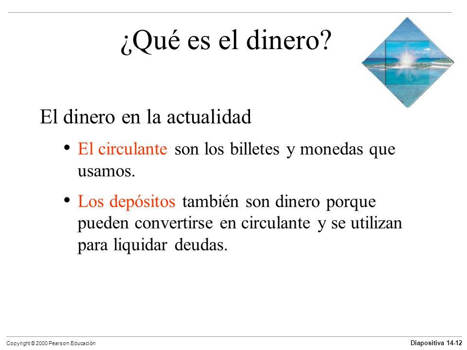 Diapositiva 14-12 Copyright © 2000 Pearson Educación ¿Qué es el dinero? El dinero en la actualidad El circulante son los billetes y monedas que usamos