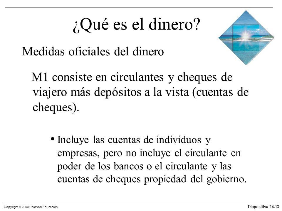 Diapositiva 14-13 Copyright © 2000 Pearson Educación ¿Qué es el dinero? Medidas oficiales del dinero M1 consiste en circulantes y cheques de viajero m