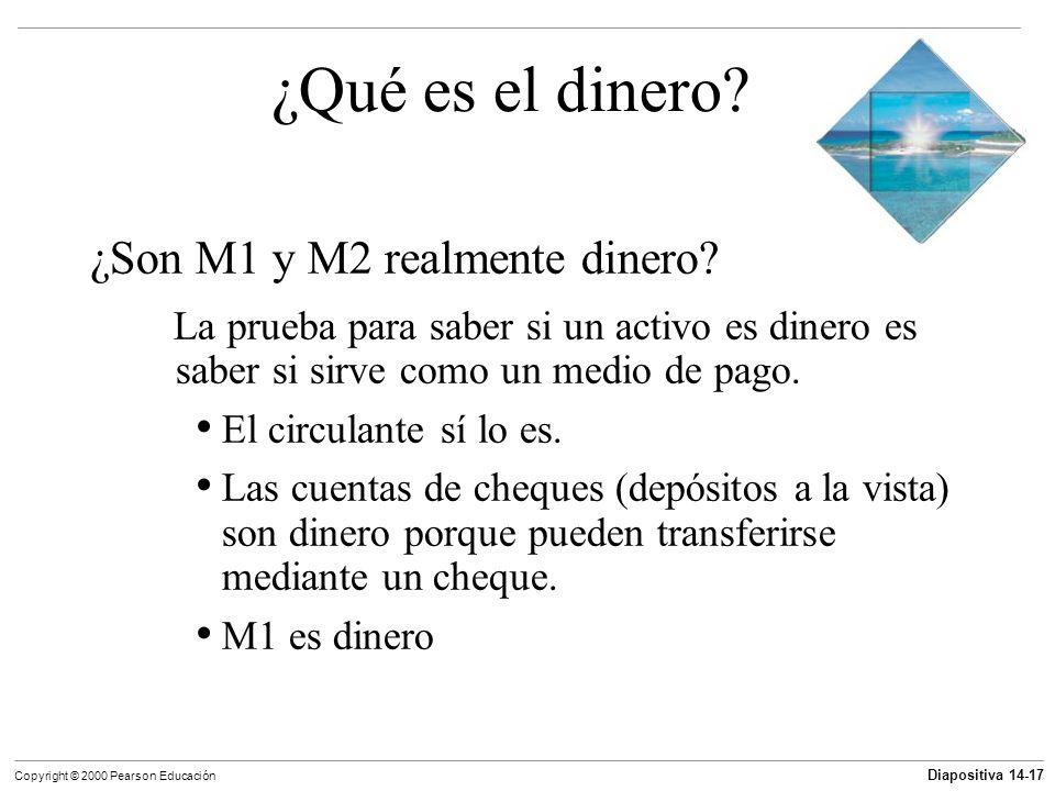 Diapositiva 14-17 Copyright © 2000 Pearson Educación ¿Qué es el dinero? ¿Son M1 y M2 realmente dinero? La prueba para saber si un activo es dinero es