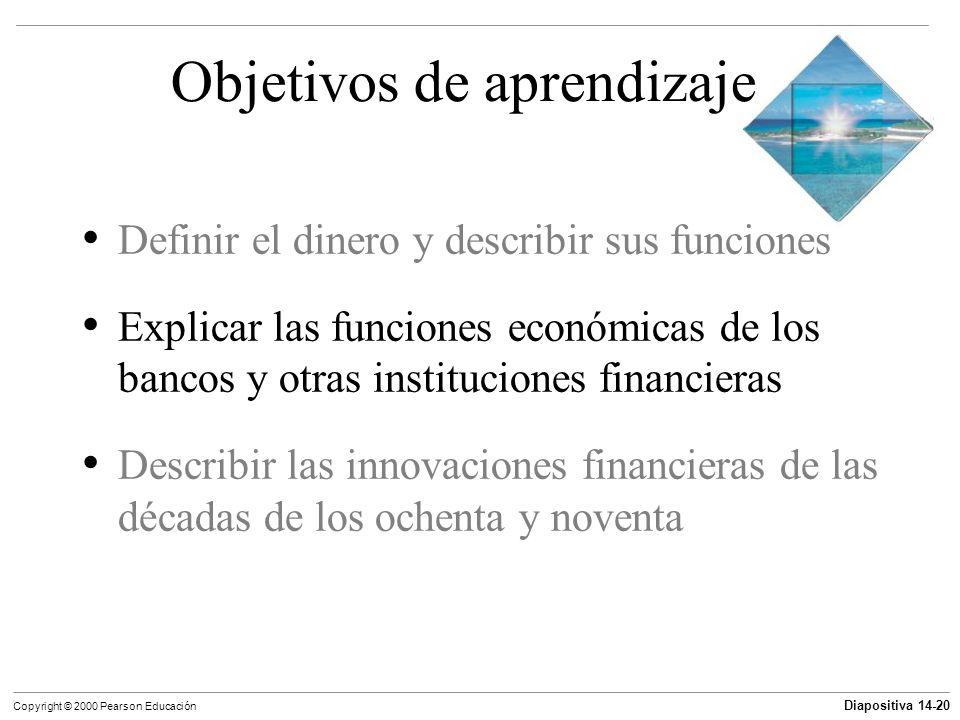 Diapositiva 14-20 Copyright © 2000 Pearson Educación Objetivos de aprendizaje Definir el dinero y describir sus funciones Explicar las funciones econó