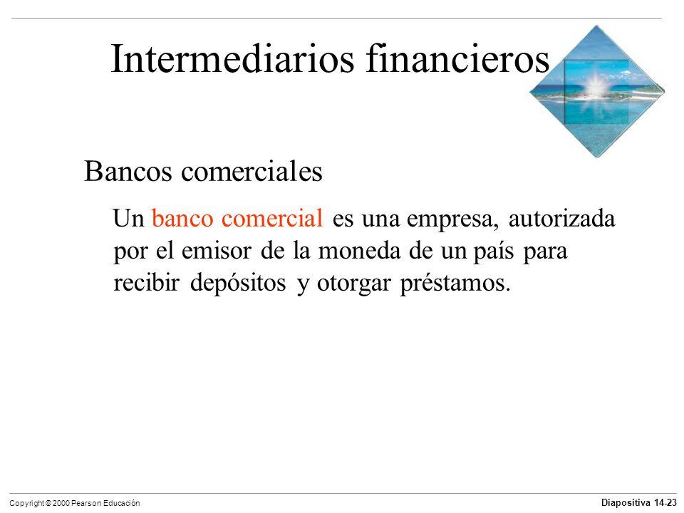 Diapositiva 14-23 Copyright © 2000 Pearson Educación Intermediarios financieros Bancos comerciales Un banco comercial es una empresa, autorizada por e