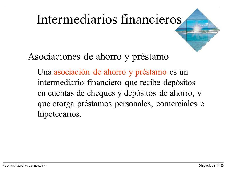Diapositiva 14-30 Copyright © 2000 Pearson Educación Intermediarios financieros Asociaciones de ahorro y préstamo Una asociación de ahorro y préstamo