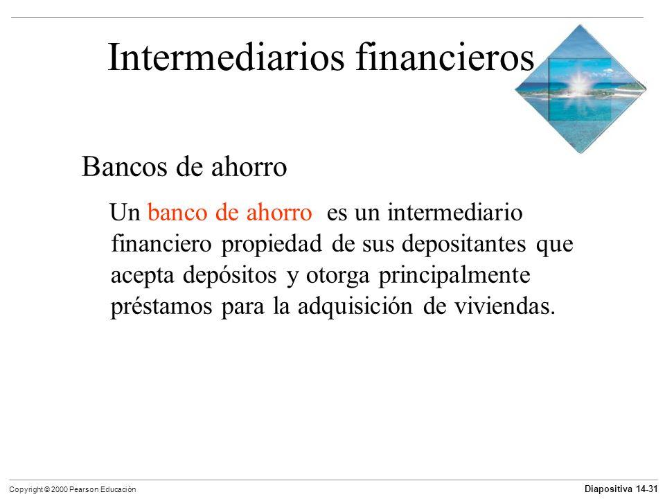 Diapositiva 14-31 Copyright © 2000 Pearson Educación Intermediarios financieros Bancos de ahorro Un banco de ahorro es un intermediario financiero pro