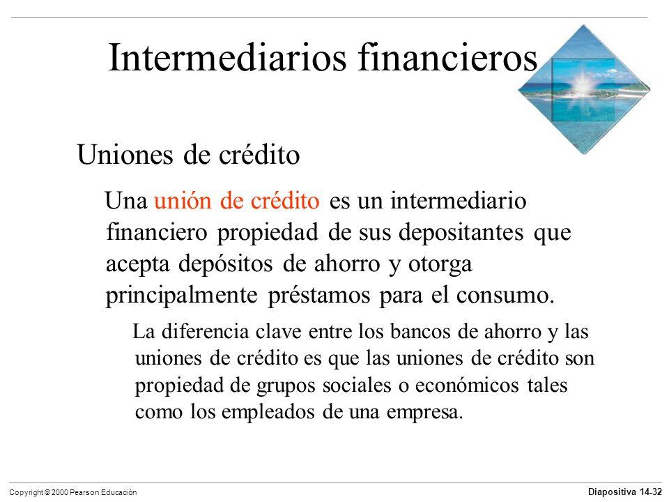 Diapositiva 14-32 Copyright © 2000 Pearson Educación Intermediarios financieros Uniones de crédito Una unión de crédito es un intermediario financiero