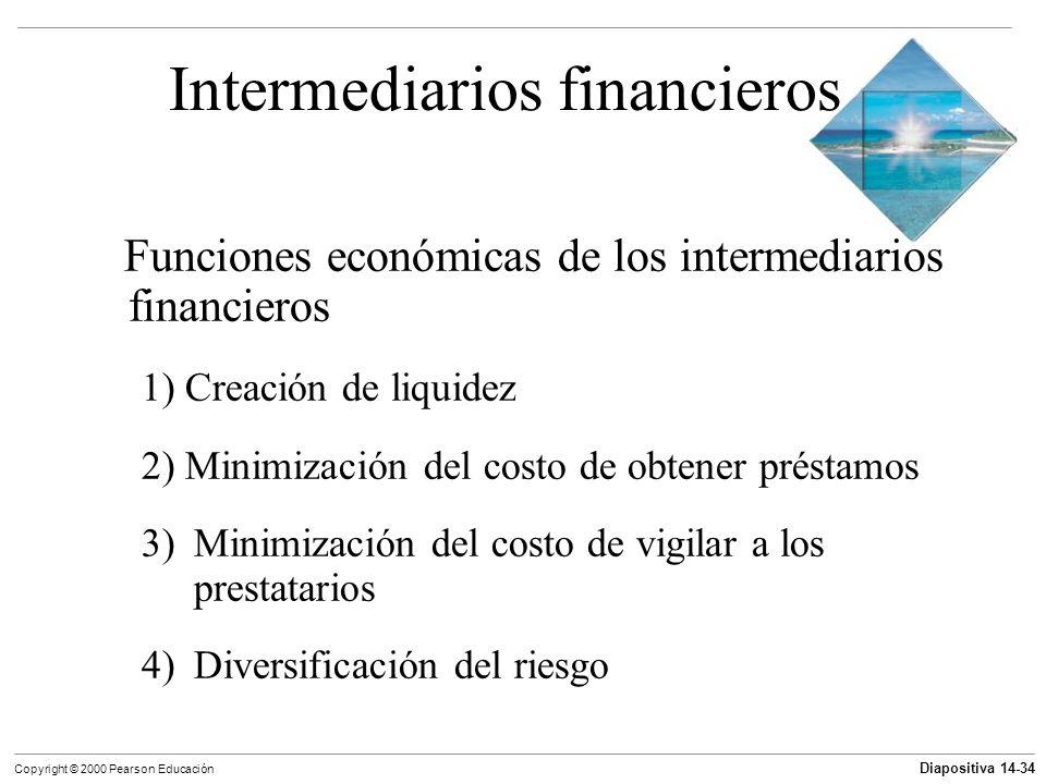 Diapositiva 14-34 Copyright © 2000 Pearson Educación Intermediarios financieros Funciones económicas de los intermediarios financieros 1) Creación de